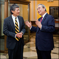 University of Maryland president Wallace Loh (left) with Canon U.S.A., Inc. president and CEO Yoroku Adachi (right). Photo by John T. Consoli.